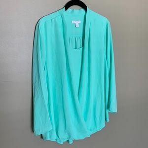 Charter Club mint layered blouse size large